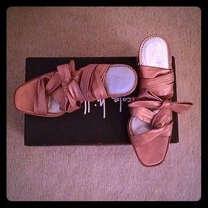 Vintage Nicole Miller Leather Wrap Sandals